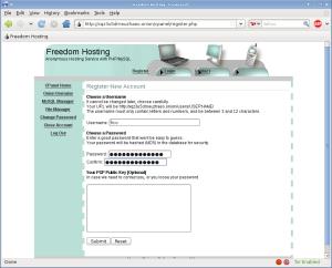 Freedom Hosting - registračné údaje