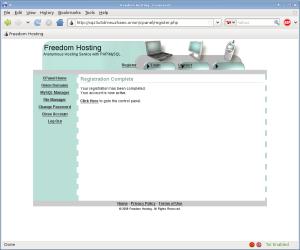 Freedom Hosting - úspešná registrácia