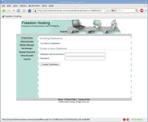 Freedom Hosting - správa MySQL databáz