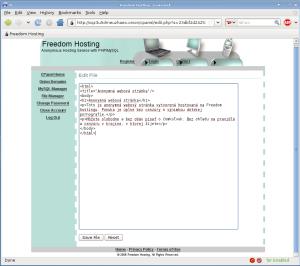 Freedom Hosting - editácia súboru