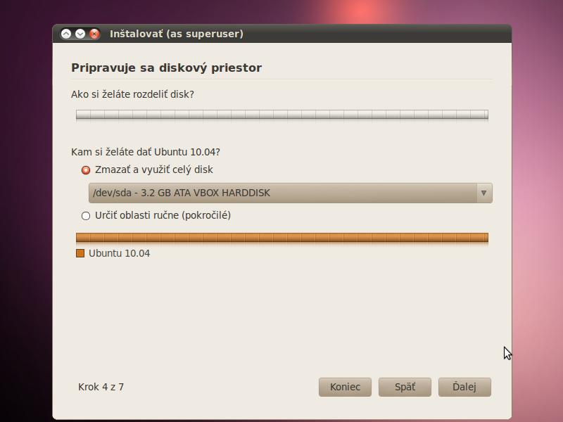 pozor tu si možete bud váš windows natrvalo zmazat alebo sa možu tieto systémy o disk podelit