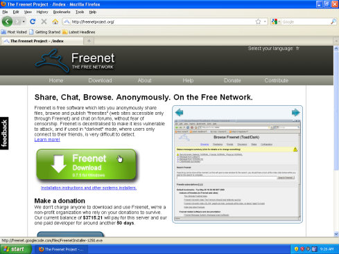 Stiahnutie programu Freenet