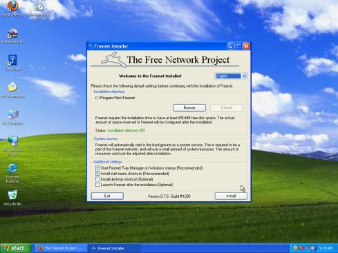 Inštalácia programu Freenet - nastavenia