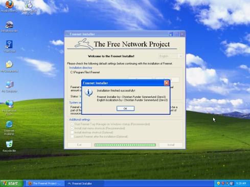 Úspešné dokončenie inštalácie Freenetu