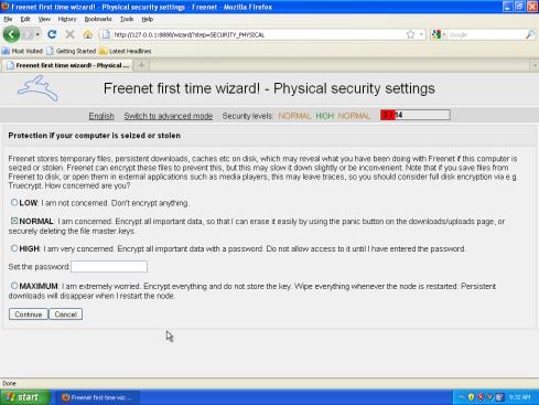 Freenet nastavenie šifrovania