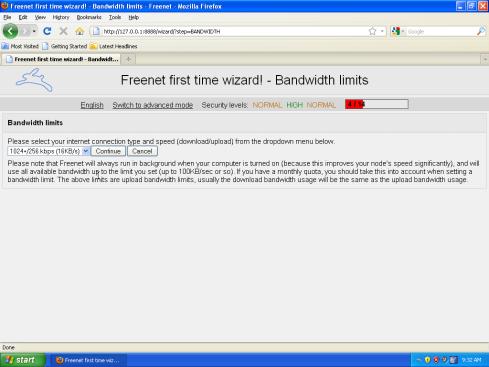 Nastavenie rýchlosti pripojenia Freenet