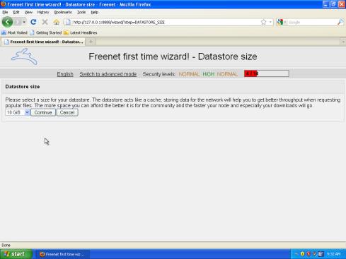 Veľkosť úložiska Freenet