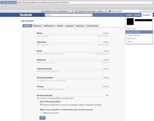 Facebook - nastavenia účtu - bezpečnosť účtu - https