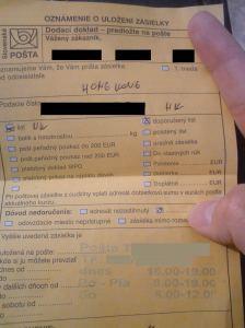 Oznam o uložení zásielky - dodací doklad
