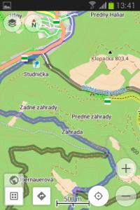 Osmand - turistická navigácia s vrstevnicami a turistickými značkami